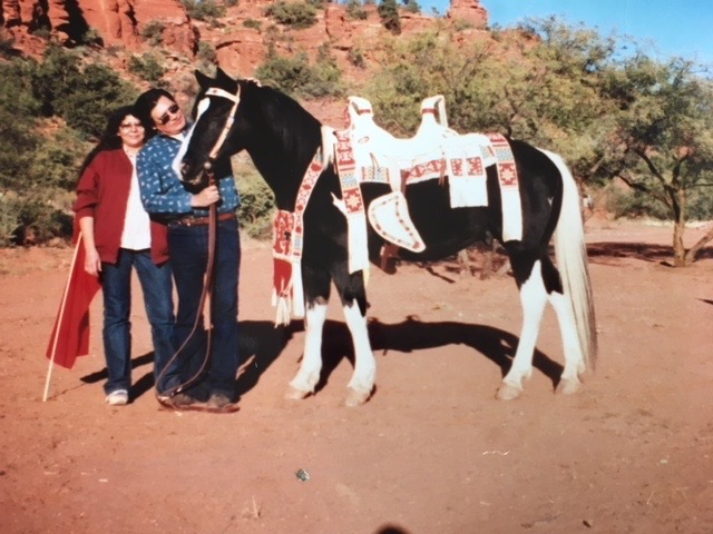 The land is blessed by Hopi Oswald White Bear Fredericks and Naomi, one summer day while Patches, the trail horse stood in awe!